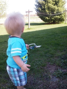 Playing at his cousin's house.